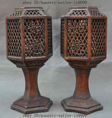 old china huanghuali wood carved auspicious lucky statue candle Palace lanterns