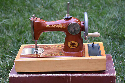 1968s Russian Singer Childs Toy Sewing Machine Hand Crank Metal Wood Base WORKS!