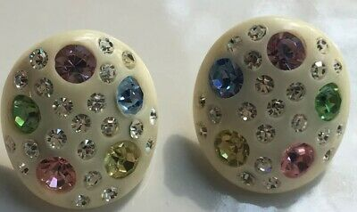 Awesome 1980's Vintage White Button Multi Color Rhinestone Earrings