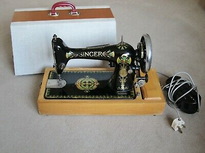 SINGER VINTAGE SEWING MACHINE MODEL 66K LOTUS FLOWER ELECTRIC c.1909
