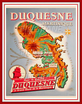 DUQUESNE RHUM MARTINIQUE Rpcg-REPRODUCTION 60x90cm d'1 AFFICHE VINTAGE (BR*)