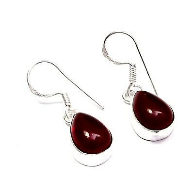 "Stunning Red Quartz Gemstone Nice Silver Plated Dangle Earring Jewelry 2"" EH499"