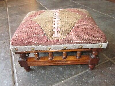 Small Edwardian footstool with antique Kilim upholstery and suede trim