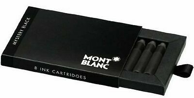 Montblanc  Mystery Black Fountain Pen  Ink Cartridges 8  New In Box