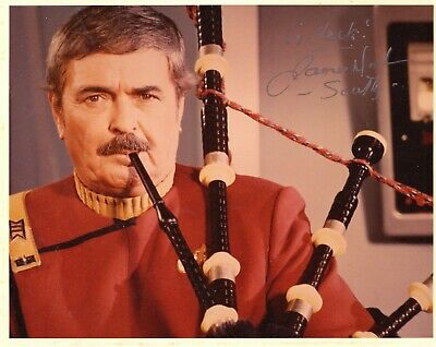James Doohan Star Trek Scotland Bagpipes D Day Scotty Hand Signed 8x10 Photo