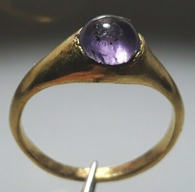 PURE GOLD ROMAN RING ** With Round AMETHYST Stone ** RARE