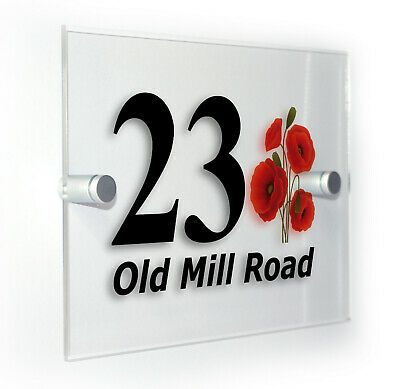 Poppy Poppies Classic House Office Number Home Address Sign Plaque & Fixings