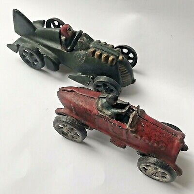 Pair of Vintage 1920s Cast Iron REPRODUCTION Race Cars, Boat Tail Hubley