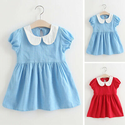 Clothes Dress Sundress Kids Girls Bow Doll collar A-line Summer Pleated Baby
