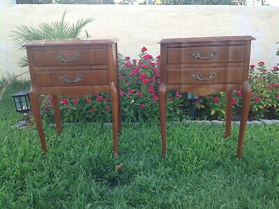 Vintage French Style 2 Drawer Night Stand Cherry