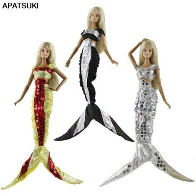 "Sequin Mermaid Tail Doll Dress For 11.5"" 1/6 Doll Clothes Evening Party Gown Toy"
