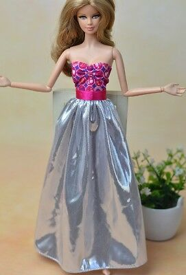 "Pink Silver Fashion Doll Clothes For 11.5"" Doll Dress 1/6 Dolls Accessories Toy"