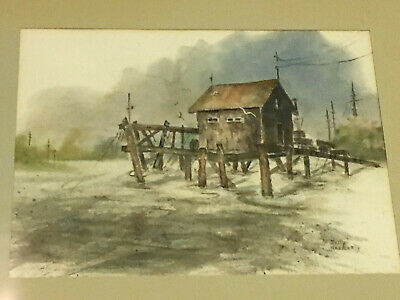 Vintage Original Watercolor Painting Eastcoast Seascape Betty Haggerty Frame USA