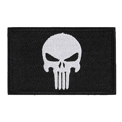 Skull  Double Sided Embroidery Trim Patch US Army Morale Armbands Badge Cool