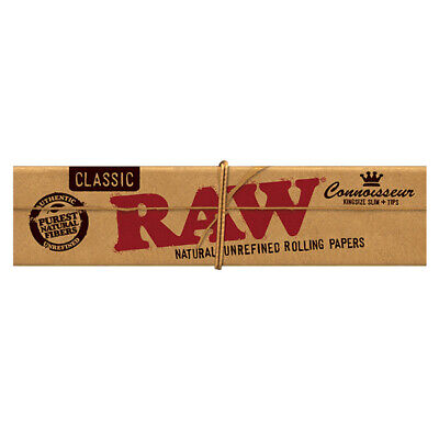 Raw King Size Slim Connoisseur Rolling Paper + Tips - Classic