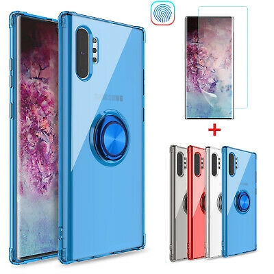 For Samsung Galaxy Note 10+ Plus 5G Ring Holder Case Cover With Screen Protector