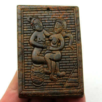 V898 Ancient China Old Jade Two-Sided Handcarved Man Woman Sexy Art Pendant 3.3""