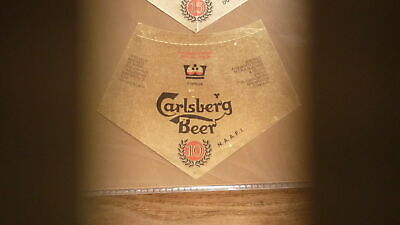 OLD 1960s CYPRUS BEER LABEL, CARLSBERG BREWERY NICOSIA, 10th ANNIVERSARY