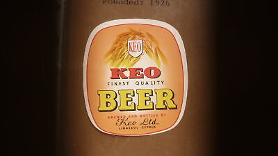 OLD 1960s CYPRUS BEER LABEL, KEO BREWERY LIMASSOL, KEO BEER SMALL