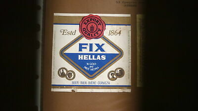OLD 1960s GREECE BEER LABEL, FIX BREWERY ATHENS, FIX HELLAS