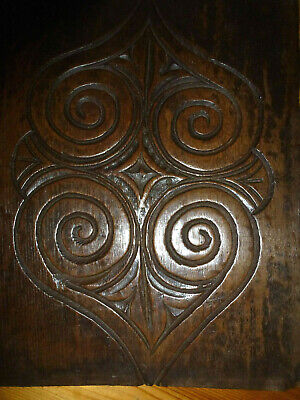 Rare antique C17th carved oak double heart panel with superb patination Somerset