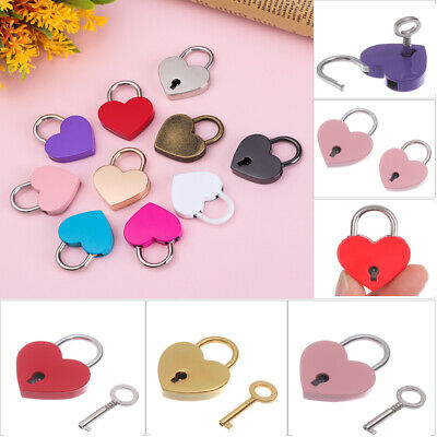 Heart Shape Old Antique Mini Archaize Padlocks Key Lock With key Diary Protector