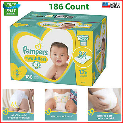 Diapers 186 Count - Pampers Swaddlers Disposable Baby ONE MONTH SUPPLY MANY SIZE