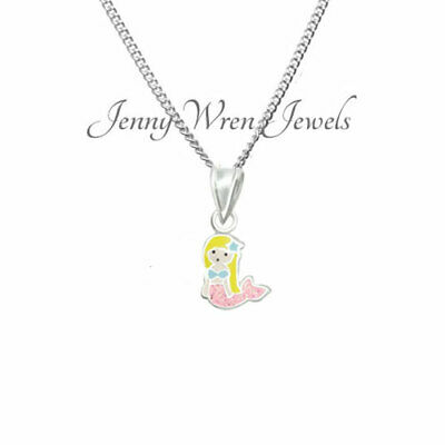 Children's Girls Kids Jewellery MERMAID Necklace Sterling SILVER & Chain Gift