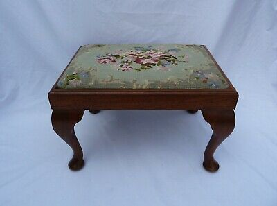 Vintage Antique Mahogany Tapestry Seat Footstool Stool on Queen Anne Legs