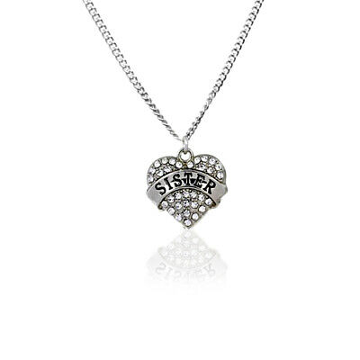 CHILDREN's Girls Jewellery SISTER Sibling Necklace Gift & Sterling Silver Chain