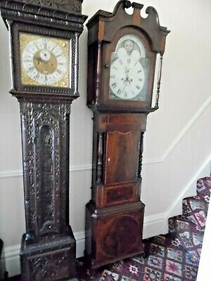 C1860 Mahogany Rolling Moon Phase Biblical Scenes Longcase Grandfather Clock