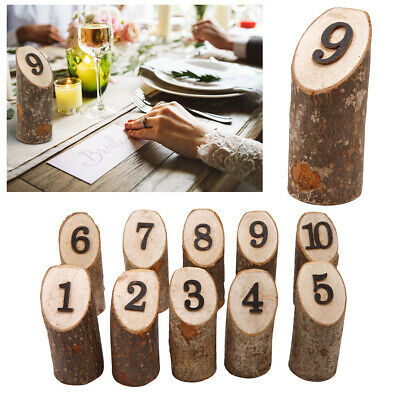 1-10 Wooden Table Number Sign Desktop Free-Standing Wedding Party Decor Ornament