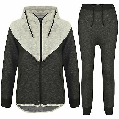 Kids Boys Girls Contrast Panel Tracksuit Grey Hooded Top & Bottom Jogging Suits