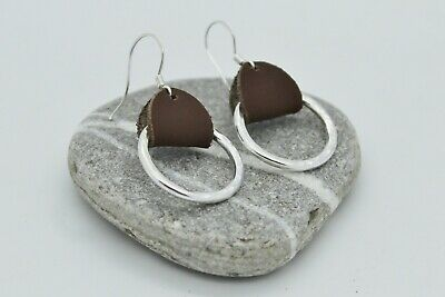 Solid Sterling Silver and Genuine Brown Leather Handmade Dangle Earrings