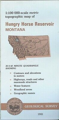 USGS Topographic Map HUNGRY HORSE RESERVOIR - Montana - 1981 - 100K