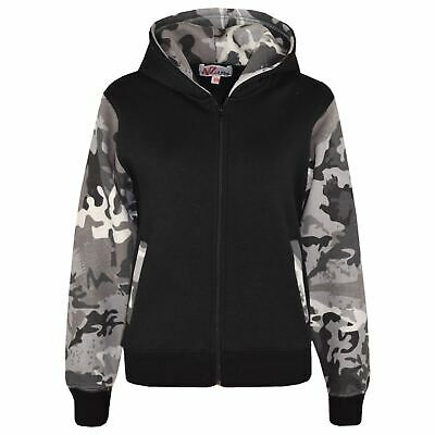 Kids Boys Girls Jackets Fleece Camouflage Charcoal Hooded Hoodie Zipped Jackets