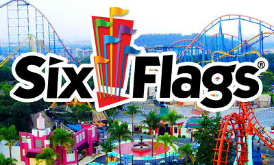 2 SIX FLAGS Single Day Admission Tickets 2019 Any US Theme or Water Park