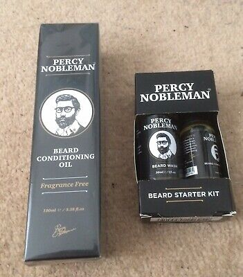 NEW Percy Nobleman 100ml Beard Oil And The Grooming Starter Kit Gift Set.