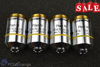 Olympus Objective Lens Plan N 10X / 0.25 CY ∞/-/FN22 UIS 2 Japan **LOT of 4**