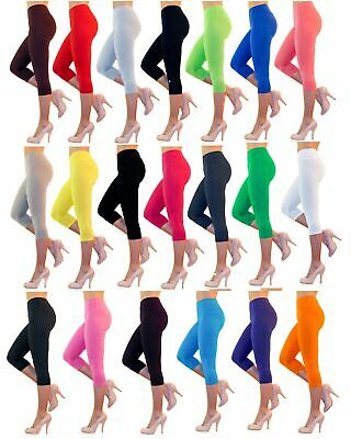 Ladies 3/4 Capri Leggings Cotton High Waist without or with Pockets Short