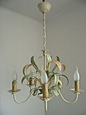 Vintage French Cream Peach & Green Exotic Leaf 5 Arm Tole-Ware Chandelier 1439