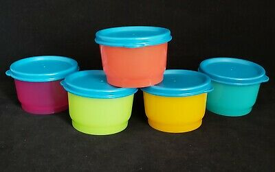 FREE SHIPPING Tupperware Set 5 Snack Cups 4 oz ea bite size fruit pack lunch New