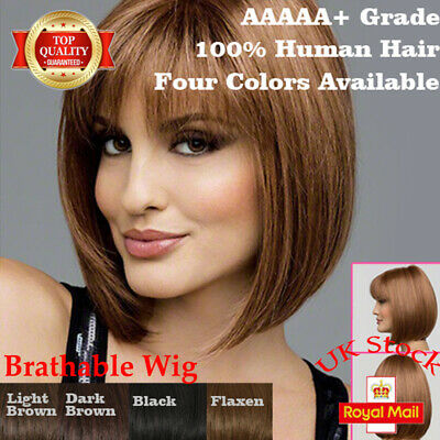 UK Women Ladies Real Natural Short Straight Hair Wig Bob Style Cosplay Full Wig