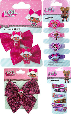 LOL Glitter Surprise Hair Bows x2 Pink Hair Ties Clips Genuine Official L.O.L