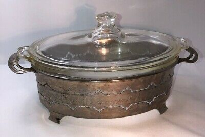 Vintage Clear Pyrex Oval Casserole Dish Embossed Metal Handles Two Grip