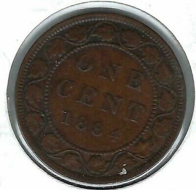 1884 Canadian Circulated One Large Cent Victoria Coin!