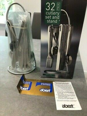 32 piece Stainless Steel 18/10 Cutlery Set on S/S Stand, New in Box, Abert Italy