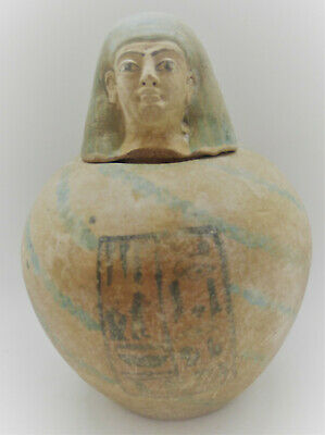 Scarce Ancient Egyptian Canopic Jar With Heiroglyphs And Head Of Pharoah 1000Bce