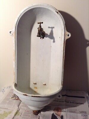 Vintage French Cast Iron Enamel Sink & Tap - Garden Water Feature