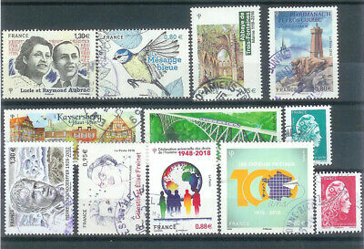 Superbe Lot 12 Timbres Gommes 2018 Obliteres Ttb Pcd Rond